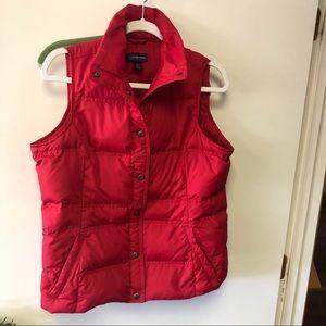 Lands End Red Down Puffer Vest Jacket Medium